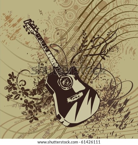 Music instrument background with a guitar.
