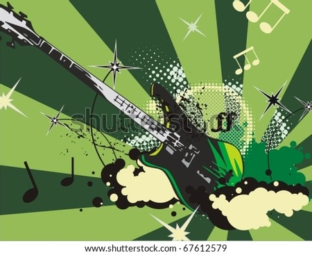 Music instrument background with an electric guitar.