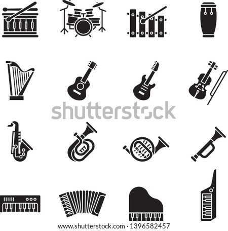 Music instrument flat icon set with white background.