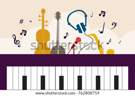Music Instrument Flat Vector Background