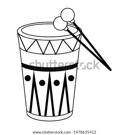 music instrument musical drum object cartoon vector illustration graphic design