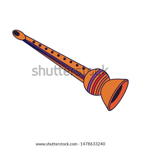 music instrument musical flute object cartoon vector illustration graphic design