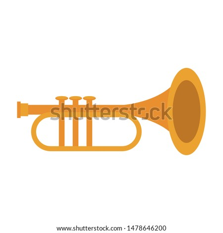 music instrument musical trumpet object cartoon vector illustration graphic design