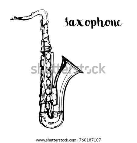 Music instrument Saxophone outline hand drawn sketch line art isolated on white background stock vector illustration for coloring book page