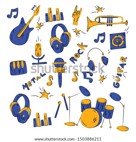 Music instruments and accessories. Vector flat doodle hand drawn set with musical instruments