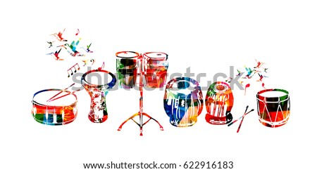 Music instruments background. Colorful drum, darbuka, bongo drums, indian tabla and traditional Turkish drum isolated vector illustration