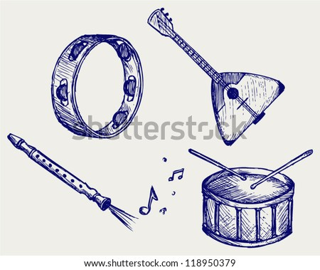 Music instruments. Doodle style