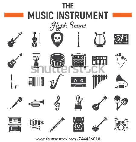 Music instruments glyph icon set, audio symbols collection, musical tools vector sketches, logo illustrations, signs solid pictograms package isolated on white background, eps 10.