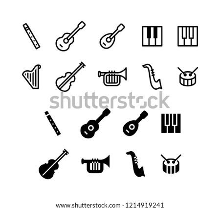 Music Instruments Icon Logo Vector Symbol including Flute, Guitar, Piano, Drum, Saxophone, Trumpet, Violin, etc