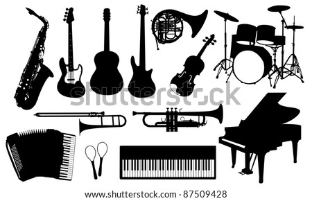 music instruments isolated on white