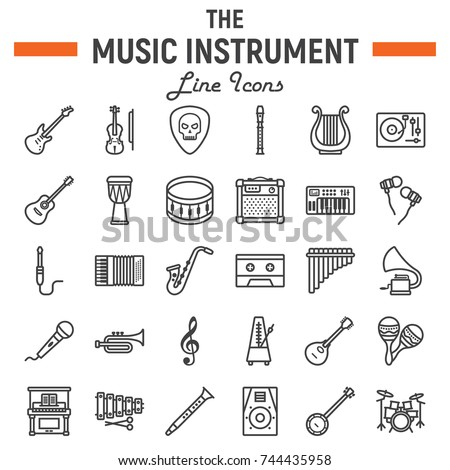Music instruments line icon set, audio symbols collection, musical tools vector sketches, logo illustrations, signs linear pictograms package isolated on white background, eps 10.