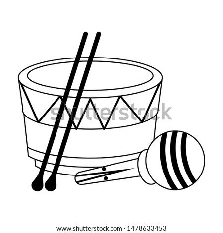music instruments musical drum and maracas objects cartoon vector illustration graphic design