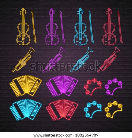 Music Instruments Neon light Glowing Vector Illustration Violin, Trumpet, Accordion, Tambourine Icons Bright