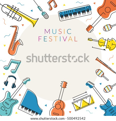 Music Instruments Objects Frame, Line Design, Festival, Event, Live, Concert