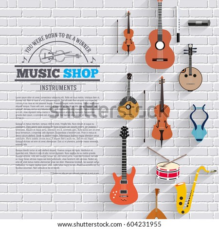 music instruments on white