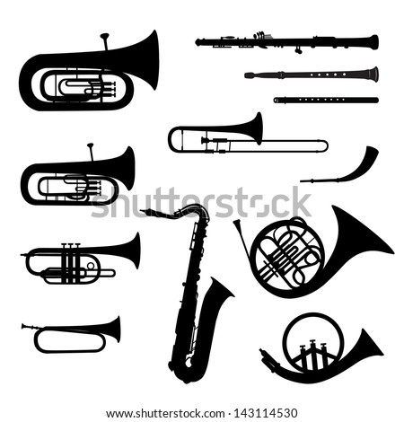 Music instruments set. Brass musical instrument silhouettes on white background.