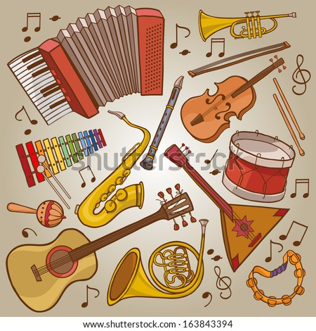Music Instruments.SET Hand drawn Great illustrations for School and Pictures Books magazines advertising and more VECTOR