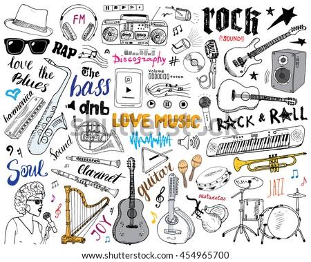 music instruments set hand