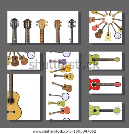 Music instruments templates for poster design, announcements, greeting cards, posters, advertisement, business card. Electric guitars, acoustic guitars, classic guitar, bass guitar, banjo.