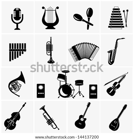 Music instruments . vector black music icons set on gray
