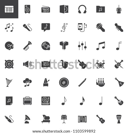 Music instruments vector icons set, modern solid symbol collection, filled style pictogram pack. Signs, logo illustration. Set includes icons as Piano key, Headphones, Microphone, Trumpet, Amplifier