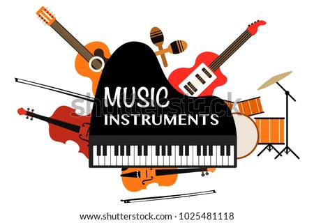 Music Instruments words on piano and string instruments. Music tools set. Eps vector illustration