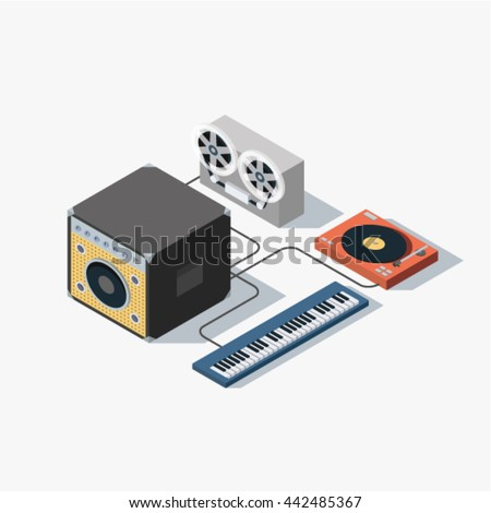 music isometric concept vector