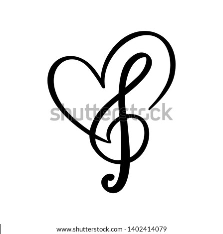 music key and heart abstract