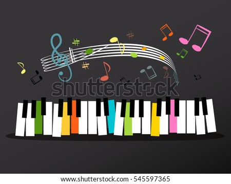 Music Keyboard with Colorful Keys and Notes