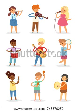 Music kids vector cartoon characters set of children singing or playing musical instruments guitar, violin and flute in childhood kiddy illustration isolated on white background