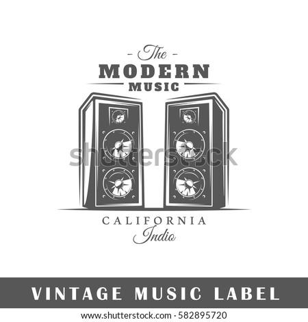 Music label isolated on white background. Design element. Template for logo, signage, branding design. Vector illustration