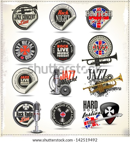 music labels and badges
