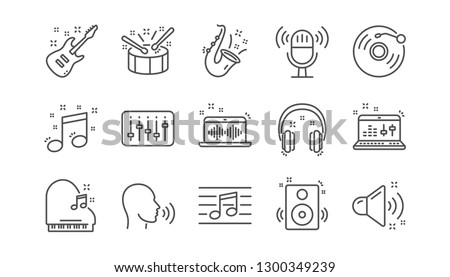 Music line icons. Guitar, Musical note and Headphones. Jazz saxophone linear icon set.  Vector