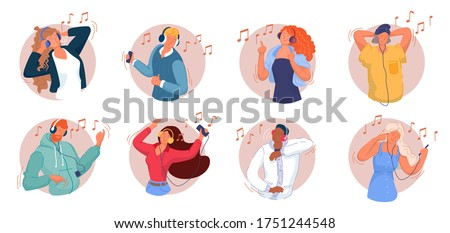 Music listening. Smiling men and women listening to music on smartphone, dancing, singing song, relaxing and having fun set. Music lovers wearing headphones and enjoying modern audio sound collection