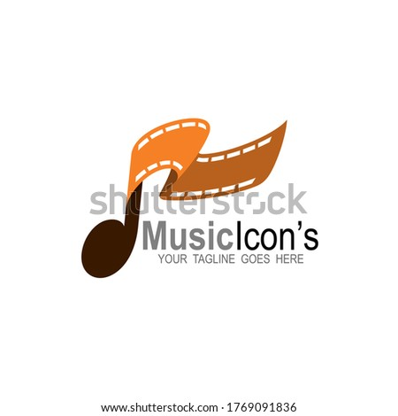 Music logo and cinema design combination, Movie icon template, Film logos