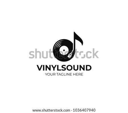 Stock Photo Music logo template. Musical note and vinyl record vector design. Turntable illustration