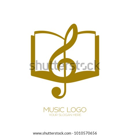 Music logo. Treble clef and book