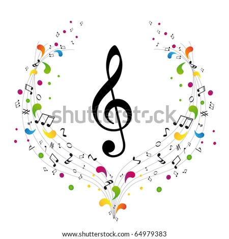 Music logo - treble clef and notes