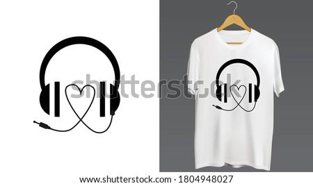 music love tshirt headphone art