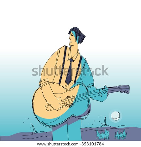 music man with guitar vector