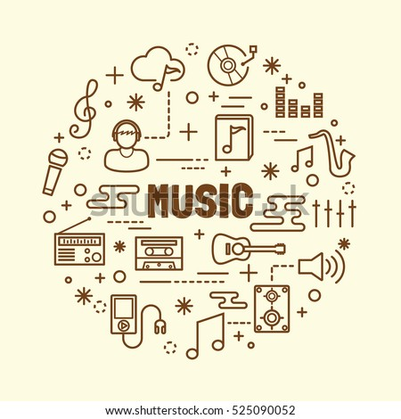 music minimal thin line icons set, vector illustration design elements