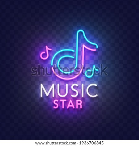 Music neon sign. Glowing neon light signboard of musical note. Sign of Music star with colorful neon lights isolated on brick wall. Vector illustration