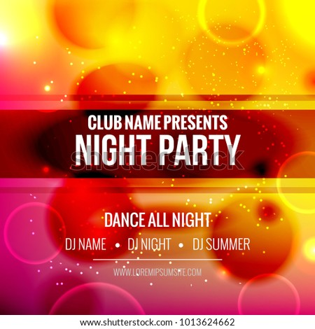Music night party electro fest poster or flyer. Night party event design template for DJ concert.