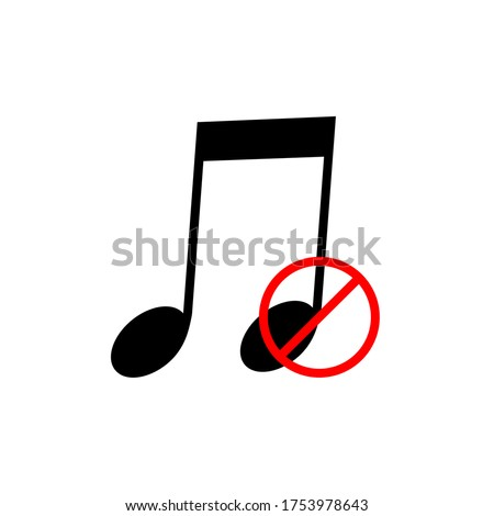 music not allowed sign vector