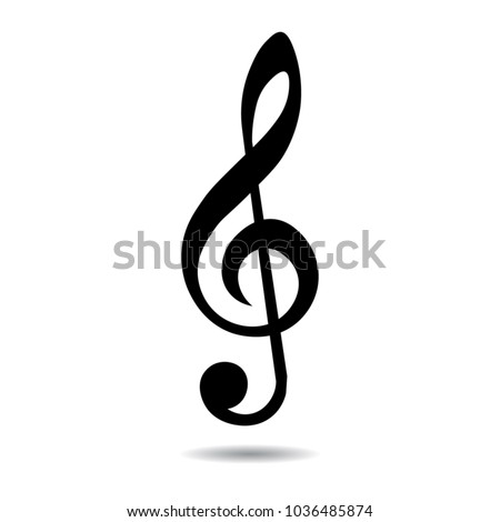 Music note clef, key, isolated vector illustration.