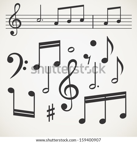 Music note collection on old paper
