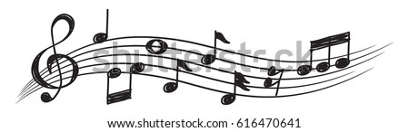 music note design element in