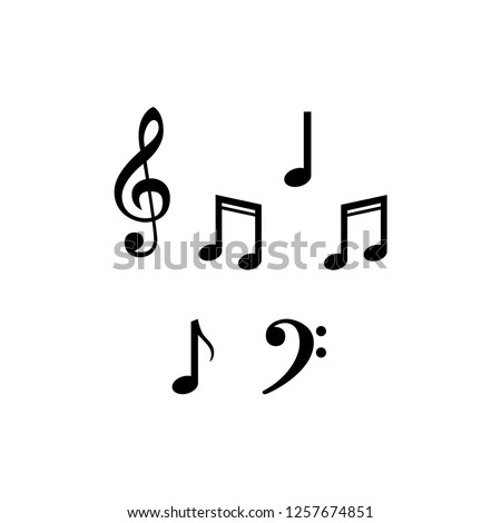 Music note design element in flat style. Vector illustration isolaten on white background