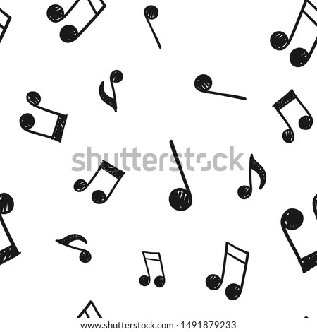Music note doodle icons pattern. Seamless texture of hand drawn musical notes. Background.