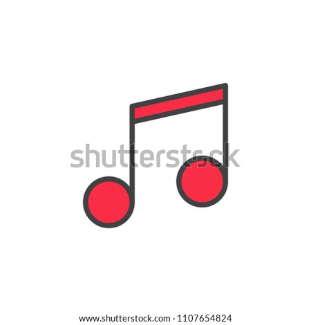 Music note filled outline icon, line vector sign, linear colorful pictogram isolated on white. Melody symbol, logo illustration. Pixel perfect vector graphics